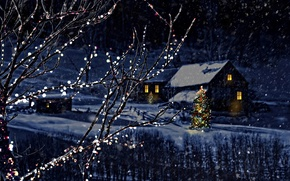 Wallpaper Nature, Winter, Night, Snow, House, Branches, Snowflakes, New year, Tree