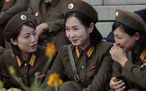 Picture smile, girls, army, military, North Korea, The DPRK
