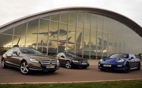 Picture background, Audi, Mercedes-Benz, Audi, CLS, Porsche, Mercedes, Panamera, Museum, Porsche, the front