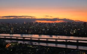 Picture Tokyo, Japan, twilight, sunset, clouds, dusk, buildings, reflections
