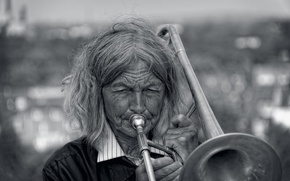 Picture music, woman, pipe
