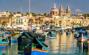 Picture building, boats, Bay, Malta, Malta, Marsaxlokk, Marsaxlok, Marsaxlokk Bay, Malta Xlokk