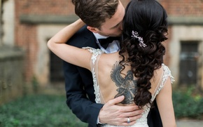 Picture girl, kiss, tattoo, tattoo, the bride, hairstyles, the groom