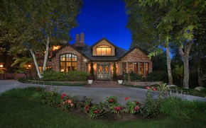 Picture trees, flowers, night, design, lights, house, lawn, CA, track, USA, mansion, the bushes, beds, San …