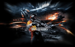 Picture night, war, soldiers, helicopter, tank, Battlefield 3