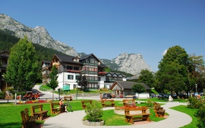 Wallpaper summer, the sky, mountains, landscape, home, Austria, town, benches, Grundlsee, Styria