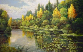 Picture lake, painting, Lotus, Landscape, mixed forest, Mark Kalpin, the beginning of autumn, yellow birch