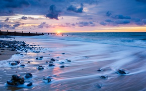 Picture sea, the sky, the sun, clouds, sunset, clouds, stones, shore, England, the evening, horizon, surf, ...