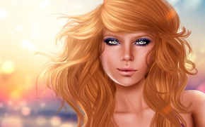 Picture look, rendering, girl, background, face, hair