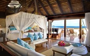 Wallpaper style, sea, bedroom, Interior, bed, the hotel