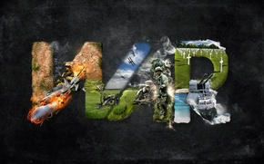 Picture grass, weapons, war, aircraft, soldiers, war, fire.CROSSES