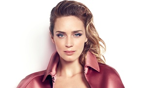 Picture look, face, hair, makeup, actress, hairstyle, white background, Emily Blunt, Emily Blunt