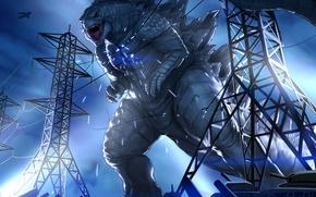 Picture monster, giant, tanks, art, mutant, godzilla