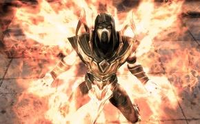 Picture flame, DC comics, Injustice: Gods Among Us, Mortal Kombat, Scorpion