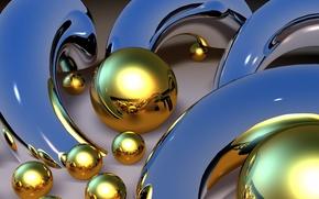 Picture white, yellow, metal, balls, arc
