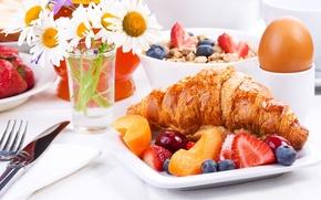 Wallpaper berries, fruit, croissant, cakes, Breakfast, growing, breakfast
