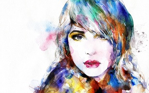 Picture girl, face, portrait, watercolor, colorful