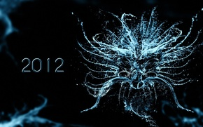 Picture water, drops, new year, liquid, black background, 2012, new year, black background, the year of …