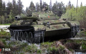 Picture forest, swamp, tank, USSR, average, THE T-62A, World of Tanks Tanks