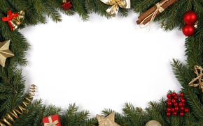 Picture branches, tree, cinnamon, bow, bells, Christmas decorations