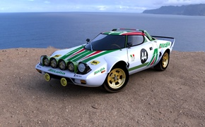 Picture green, white, Lancia, Stratos