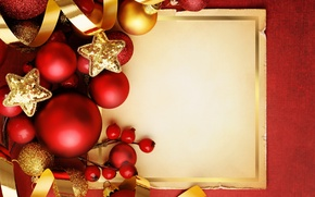 Picture decoration, balls, New Year, Christmas, red, Christmas, balls, Xmas, decoration, New year, Merry