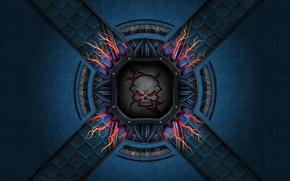 Picture blue, mesh, zipper, skull
