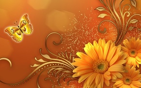 Picture flowers, abstraction, pattern, butterfly, monogram