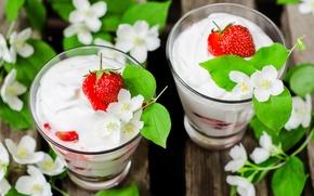 Picture strawberry, dessert, Jasmine, yogurt