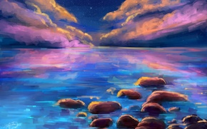 Picture sea, the sky, stars, clouds, landscape, reflection, stones, art, painting, Gabrielle Ragusi