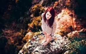 Picture girl, the sun, nature, rock, height, redhead, Lorène