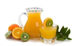Wallpaper freshness, kiwi, decanter, orange, juice, glass