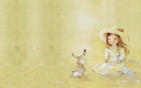 Picture summer, smile, art, girl, Bunny, children's, . Catherine Attendants