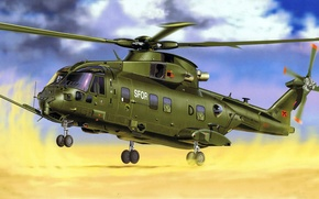 Picture figure, art, With, EH Industries, AW101, Merlin, HC 3, transport helicopter, medium-lift helicopter
