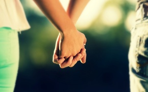 Wallpaper girl, love, background, power, widescreen, Wallpaper, mood, woman, feelings, jeans, blur, protection, hands, pair, support, ...