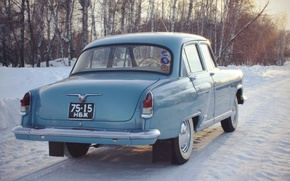 Picture snow, retro, background, Wallpaper, USSR, car, legend, Volga, Volga, GAZ 21, Gaz