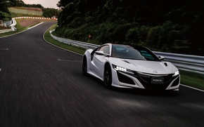 Picture supercar, white, Honda, supercar, car, road, Honda, the front, NSX