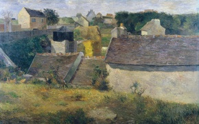 Picture roof, landscape, the city, picture, Paul Gauguin, Houses at Vaugirard