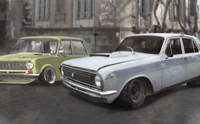 Picture girl, house, tuning, figure, Girl, cafe, sport, Car, tuning, gtr, Lada, Volga, 2101, paint, Odessa, ...