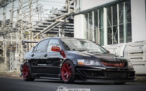 Picture Mitsubishi, red, black