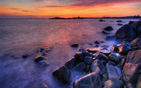 Wallpaper Sea, stones, sunset