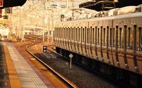 Picture light, rails, train, the car, depot, railroad, composition, Peron