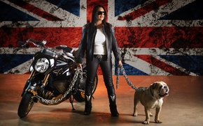 Picture metal, girl, long hair, bike, style, woman, dog, motorcycle, speed, leather, animal, flag, brunette, pose, …