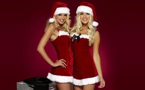 Wallpaper new year, costumes, holiday, Happy santa girls, cute, blonde