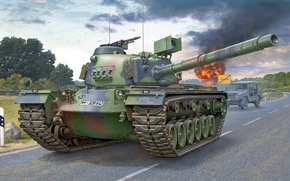 Wallpaper war, art, painting, tank, M48 Patton