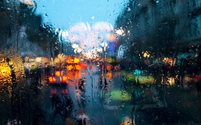 Picture macro, the city, rain