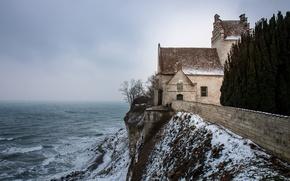 Picture sea, ocean, seascape, winter, snow, fog, mist, Denmark, cloudy, on the edge, cliff, Højerup Church