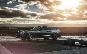 Picture Mustang, Ford, Muscle, Car, Front, Sun, Sunset, Wheels, 2015, Velgen