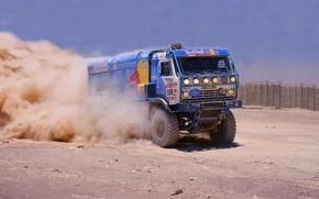 Picture Dust, Sport, Truck, KAMAZ, Rally, KAMAZ, Dakar, First, Competition