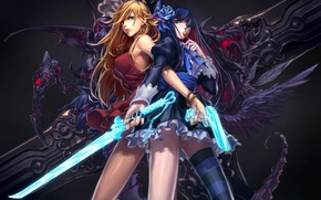 Picture weapons, girls, rose, sword, blonde, candy, panty & stocking with garterbelt